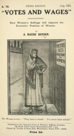 Votes & wages - picture of woman with a shawl wrapped round her head and shoulders