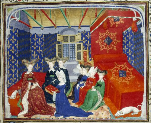 An illustration of Christine de Pizan presenting The Book of the Queen to Queen Isabeau of Bavaria.