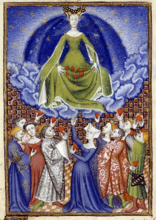 An illustration of Venus presiding over a group of men and women, from Christine de Pizan's The Book of the Queen.