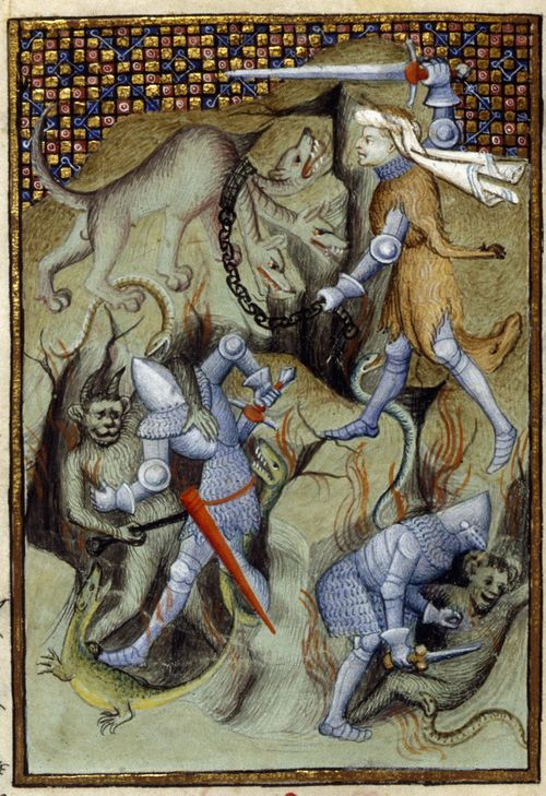 An illustration of Hercules slaying Cerberus, and Theseus and Pirithous battling demons, from Christine de Pizan's The Book of the Queen.