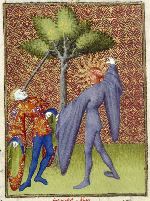 An illustration of Apollo killing Ganymede, from Christine de Pizan's The Book of the Queen.