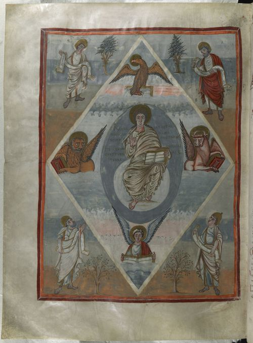 A page from the Moutier-Grandval Bible, showing an illustration of Christ in Majesty.