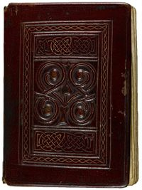 The front board of a book bound in dark brown leather. A rectangular decorated panel is in the middle of the board - it features a raised pattern in the shape of an interlacing vine, above and below which are rectangular panels of interlacing knot designs. The leather has deposits of dirt and small areas on the right-hand side of the board have become abraded.
