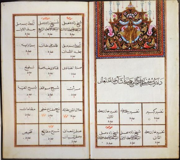 Defter-i kütüb-i Mustafa Paşa fī Cami' Hasan Paşa, undated (late 18th-early 19th c.). Original hand (f. 2v-5v, 11v-19v) is clear nesih; later additions in untidy rık'a. Text frames: black, gold, black, red. Thick off-white laid paper; watermarks: stylized coronet above letters BVC (C below); smaller coronet above letters CSC; stylized lion rampant. 22 folios, plus 79 blank but for ruling. 271 x 157 mm; ruled area 224 x 116 mm (British Library Or.14878)