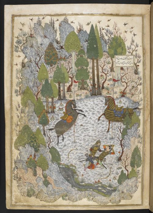 Humayun (in disguise) has challenged Humay to a duel. Defeated she removes her helmet before making up the quarrel (Add.18113, f. 23r)