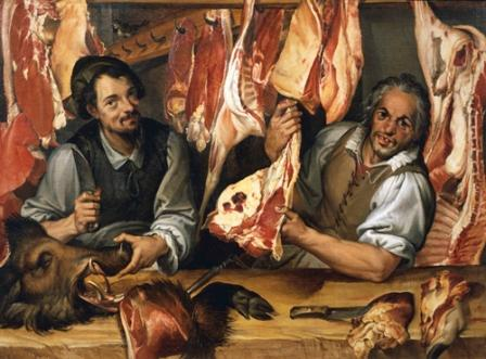 Butchers with meat in their shop