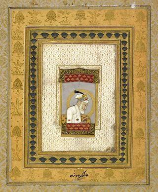Aurangzeb in his old age reading the Qur'an. Mughal, c.1700 (Johnson Album 2, 2)