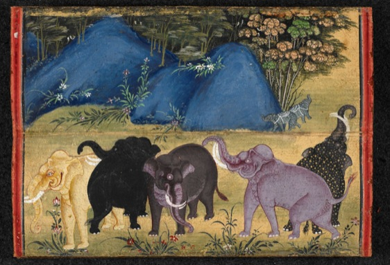 Or.13652. Folio 24, depicting various types of auspicious elephants at play.
