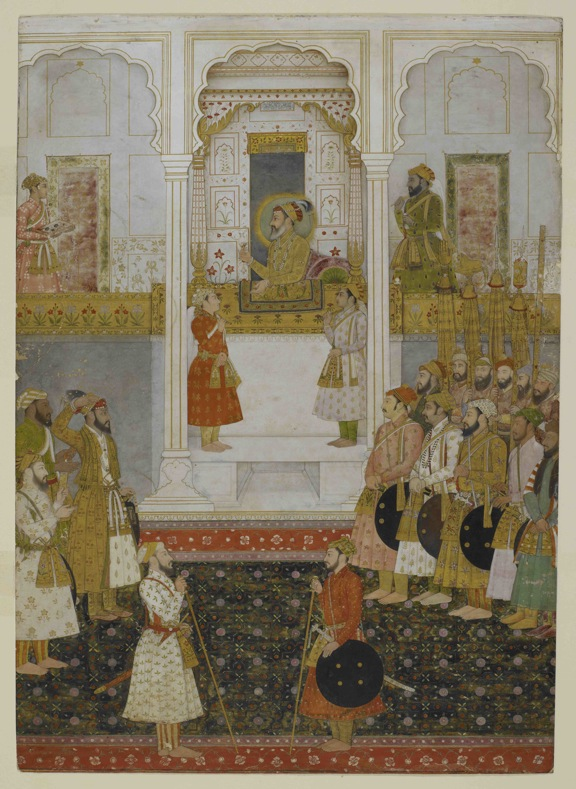 Prince Aurangzeb reports to Shah Jahan in durbar at Lahore in 1649. Mughal, 1650-55. British Library, Add.Or.3853