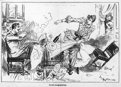 Domestic quarrel with a woman tugging the tablecloth and throwing a plate at a man seated at a dining table