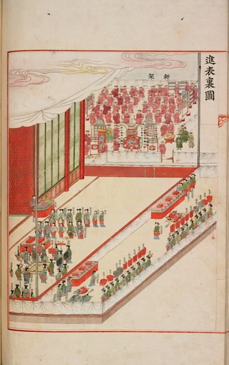 Arrangement of the Hall of Bright Spring for the presentation ceremony (Or.7458, fol. 11 verso)