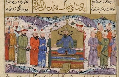 Zahhak enthroned, with serpents rising from his shoulders. From a provincial Timurid Shahnameh from Mazandaran dated 850/1446 (Or.12688, f22r)