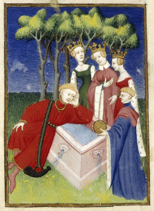 An illustration of the Judgement of Paris, from Christine de Pizan's The Book of the Queen.