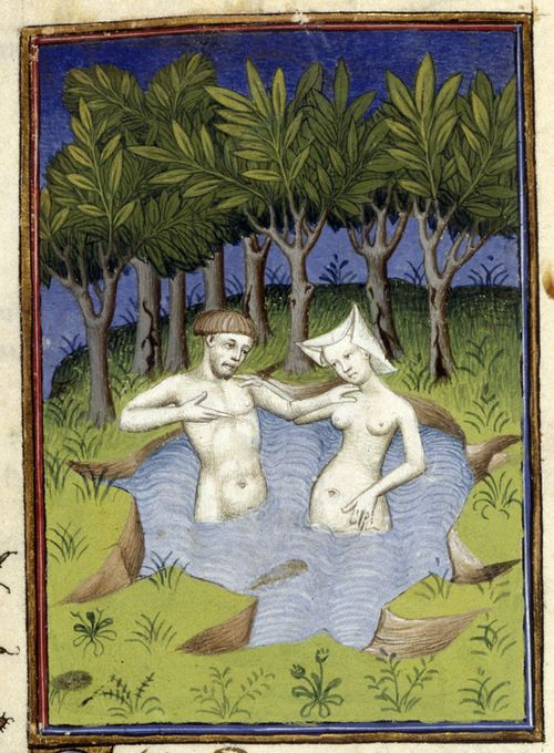 An illustration of Hermaphroditus and the nymph Salmacis bathing in a lake, from Christine de Pizan's The Book of the Queen.