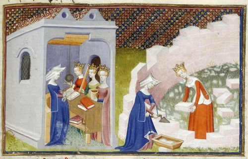 Illustrations of Christine de Pizan before the personifications of Rectitude, Reason, and Justice in her study, and helping another lady to build the 'Cité des dames', from The Book of the Queen.