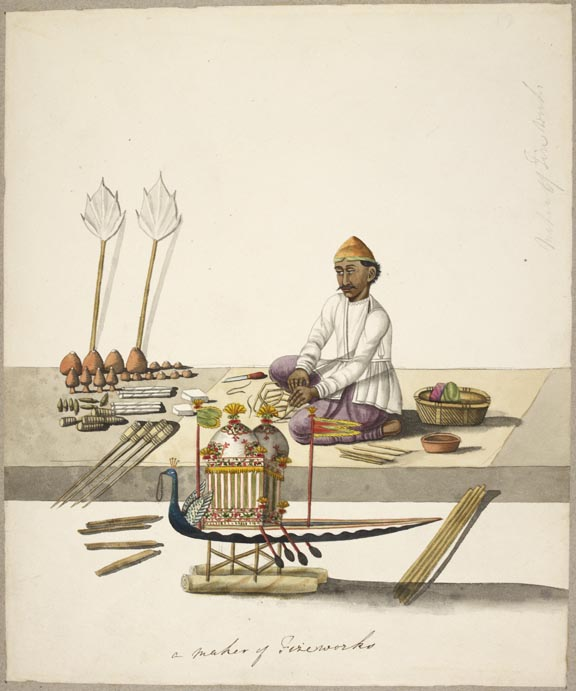 A drawing of a 'Maker of Fireworks' by an anonymous Calcutta artist, c.1794-1804  Watercolour on paper British Library, Add.Or.1115