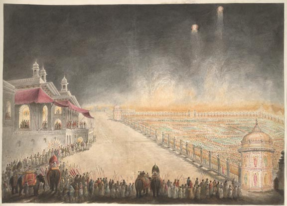 The grounds of the palace of Farhat Baksh in Lucknow lit by innumerable coloured lamps by Sita Ram, 1814-15  Watercolour on paper, 38 x 50 cm British Library, Add.Or.4760