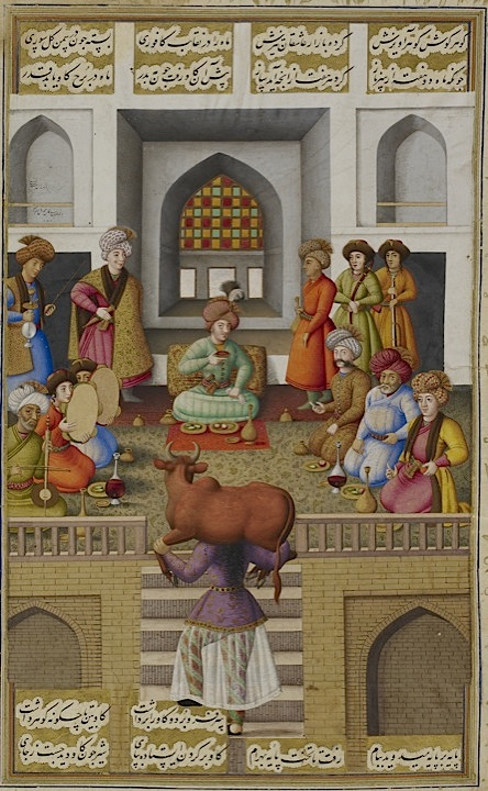 Painting by Muhammad Zaman dated Mazandaran, 1086 (1675/76). The servant girl Fitnah impresses Bahram Gur with her strength by carrying an ox on her shoulders (Or.2265, f. 213r)