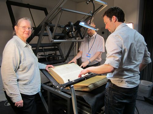 The Moutier-Grandval Bible being photographed in the British Library's imaging studio.
