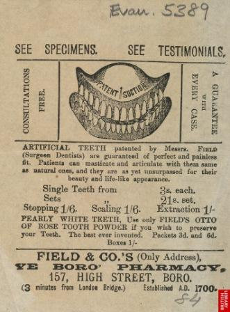 Advert for artificial teeth