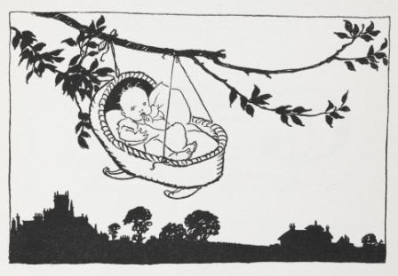 Baby in cradle hanging from a tree branch