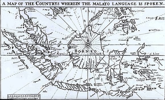 A map showing the area over which the Malay language was commonly spoken, from the first original Malay-English dictionary, by Thomas Bowrey, 1701 (British Library, 68.c.12)