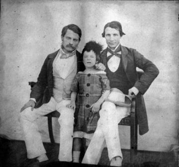 Portrait photo of L.E. Rees, W. Catania and the child of William Babington Peile, Bengal Army