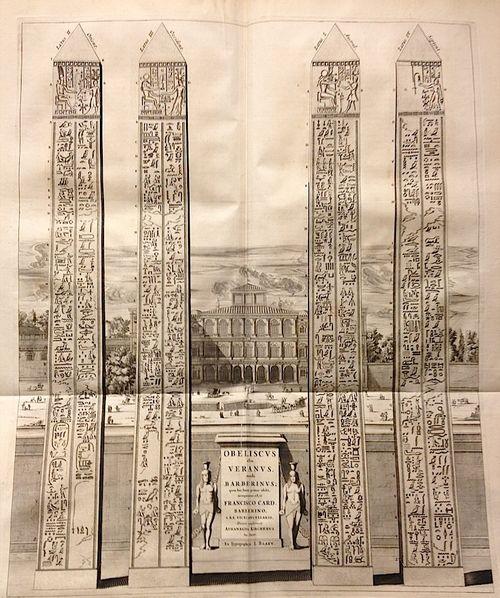 The obelisk of Veranus, Rome. Engraving from Joannes Blaeu, Civitatum Et Admirandorvm Italiæ Pars Altera in qua Vrbis Romæ Admiranda Æevi veteris & hujus seculi continentur, Amsterdam, 1663, facing p. 201 (British Library 176.h.3)