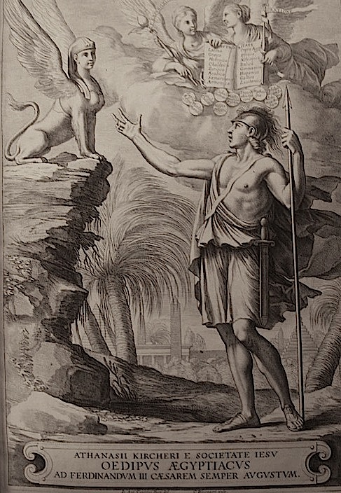 Oedipus/Kircher solves the sphynx's riddle. The frontispiece of the first volume of Oedipus Ægyptiacus, Rome, 1652-54 [1655]  (British Library 581.l.21)