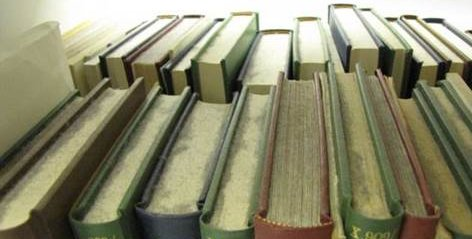 A set of fourteen odd hardbound books of varying colours on a shelf, backed by a similar amount of books facing away on the other side. The books are covered with a large amount of dust on the text blocks,which has built up in piles and makes the paper text blocks appear grey in colour where the dust is thick.