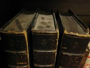 Three books, hardbound in brown leather, can be seen with a good deal of dust on their textblocks. There are fingerprints on the middle book, showing the depth of the dust.