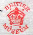 Type 3 round stamp. This image in close up, is of the red-coloured stamp. This stamp has no bounding lines and is open, though it is still circular. The image is of a large crown, with four dots at the top and bottom corners. Above the crown is 'British' and below it is 'Museum' all in capitals.