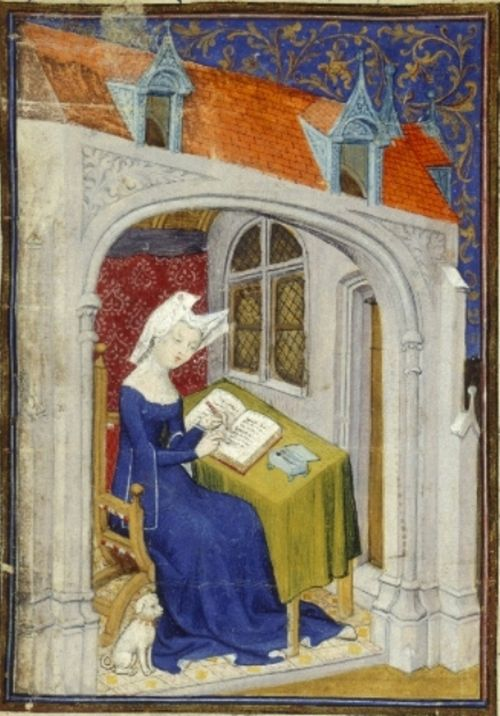 A detail from a medieval manuscript, showing a portrait of Christine de Pizan writing at her desk alongside her dog.