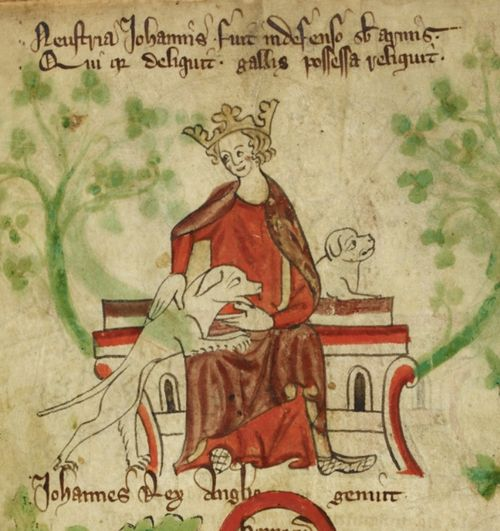 A portrait of King John petting one of his hunting dogs.