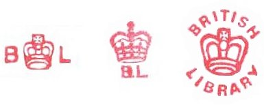Type 4 stamps. A series of three red stamps on one background. The first is simplistic, boasting a simple crown with 'B' and 'L' on either side at the centre, just over half the size of the crown in size. The middle crown appears much more detailed, with three tiers to the crowns base, and 'B.L' underneath. The third stamp is large than the other two. The Crown is the same simple depiction from the first image, but it has the text 'British library' above and below it, in capitals in a circular manner.