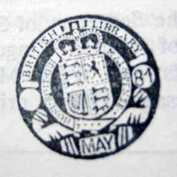 Type 4 stamp. This stamp is similar to the British Museum solid red circular stamps, but this one is solid Black. The coat of arms surmounted by the Crown is central, surrounded by the latin text. Outside the text on the left and right centre, is two clear circles, the left empty and the right with '81' inside. Above the crown is 'British Library' and belowon top of the bottom boundary is MAY all capitalised.