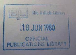 Type 4 Document Supply Centre stamp. This stamp is again rectangular, and blue in colour. Within the bounding lines in the top left corner is a logo in the shape of an open book, with 'B' and 'L' on the left and right of the open pages. Next to the logo is 'The British Library' in capitals. Underneath in centre is the date, '18 Jun 1980' capitalised and in a larger font. Underneath above the bottom bounding line is 'Official Publications Library' with 'Official' sitting above.