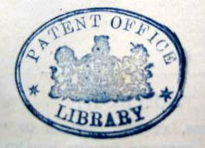 A Type 2 Patent Office stamp, in blue on a pale background. The stamp bears the Lion and Unicorn surrounding the coat of arms and around the top inside the stamp is 'Patent Office' in capitals, and separated by two stars on either side of the sigil, of which underneath is 'Library'.