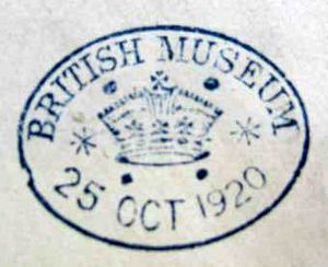 A Type 2 British Museum stamp. The ovoid stamp is blue on the pale background of the paper. The stamp bears a large crown in the centre, with four dots on the top and bottom, and two starts at the sides. Above within the stamp. is 'British Museum' in capitals, and the date underneath (also within the stamp) which is 25 October 1920.