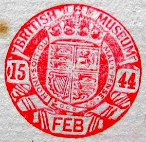 Type 3 round stamp. This image is a close up of the circular stamp, slightly unusual in that the stamp itself is solidly red, instead of only red lines. The central image is the coat of arms,bound in a circle with latin writing. At the centre edges on the left is '15' and on the right is '44'. underneath (still within the stamp) is 'Feb' in capitals, and above the coat of arms and the five-pointed crown is a banner emblazoned 'British Museum' again in capitals.