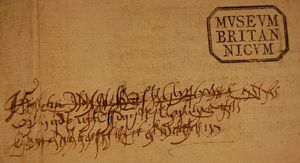 A stamp in the top right hand corner of a document. The document is medium brown, with the stamp being black in colour, in a polygon shape. The stamped lettering within reads 'Museum Britannicum' with the U in roman style, appearing as a V. The lower part of the image is filled with a flowing script that overlaps each other and is difficult to see.