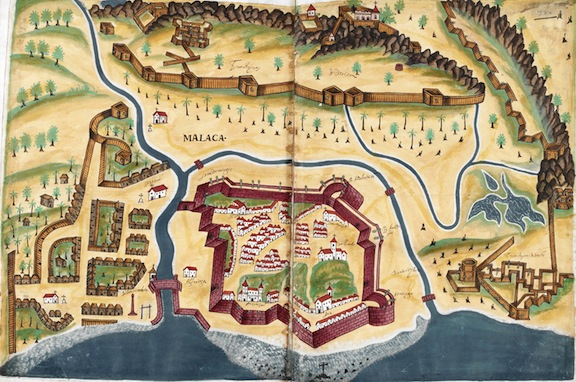 Plan of Melaka after its capture by the Portuguese.  Livro do Estado da India Oriental, by Pedro Barreto de Resende, 1641.  British Library, Sloane MS 197, ff.381v-182r.