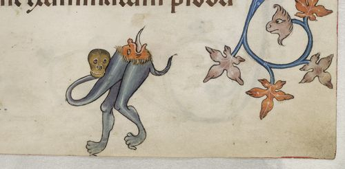 A marginal illustration of a hybrid creature from the Luttrell Psalter.