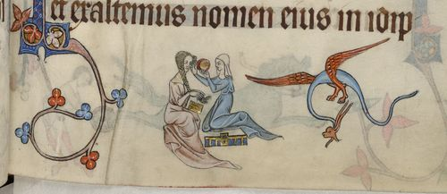 A detail from the Luttrell Psalter, showing a marginal illustration of a lady and her handmaiden.