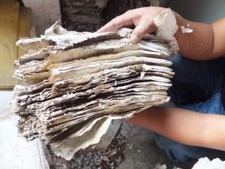 Pile of documents in a poor condition