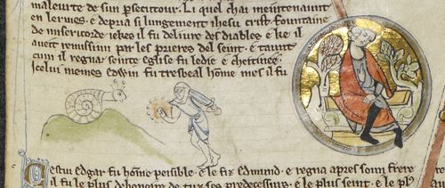 An illustration from a genealogical roll, showing a knight in combat with a snail.