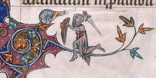 A marginal illustration from the Gorleston Psalter, showing a knight in combat with a snail.