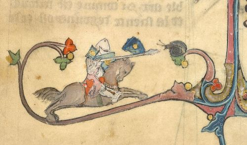 A marginal illustration from a 14th-century manuscript, showing a mounted knight jousting against a snail.