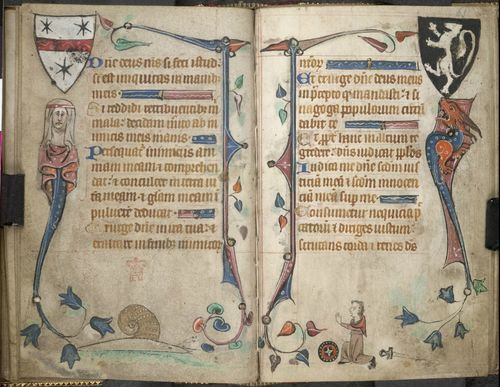 An opening from a Book of Hours, showing marginal illustrations of a snail and a disarmed knight.