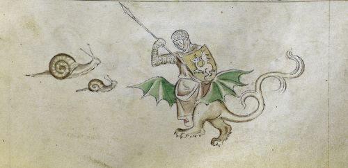 A marginal illustration from the Queen Mary Psalter, showing snails atacking a knight in combat with a dragon.